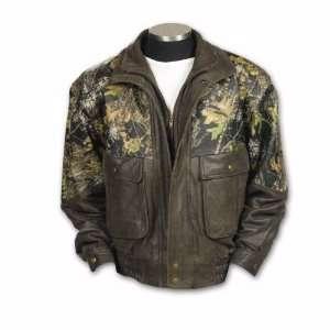 Brown Leather / Mossy Oak Break up Camouflage Jacket