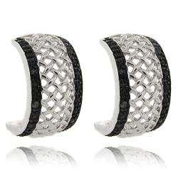 Sterling Silver Black Diamond Accent Half Hoop Earrings