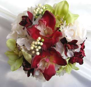 10pc wedding Bouquet Bridal flower CREAM/BURGUNDY/GREEN