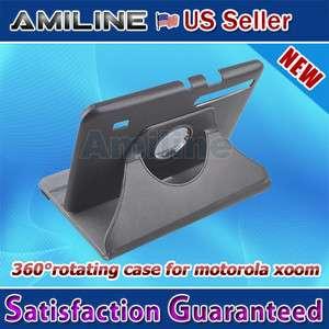 360 Degree Rotation Leather Case Cover for Motorola Xoom Folio