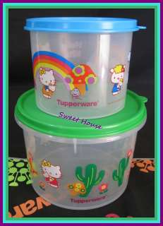 Tupperware Hello Kitty Canisters Set of 2 Blue Green New