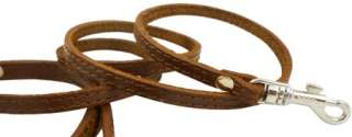 Small Leather Dog & Cat Leash 45 long 3/8 wide Brown XSmall