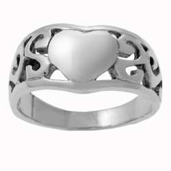 Sterling Silver Celtic Weave and Heart Ring