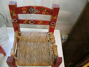 Antique Folk Art Childs Hand Carved And Painted Mexican Chair
