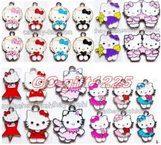 100 Pcs hello kitty Lovely Charm Metal Pendant jewelry Make, they