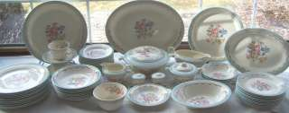 65 Pcs E Knowles China Dinnerware Multicolored Floral Blue Band Gold