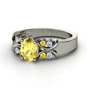 Gabrielle Ring, Oval Yellow Sapphire 14K White Gold Ring with Yellow