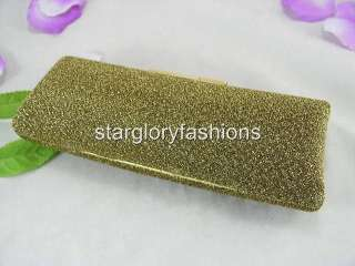 Gold/Black Shiny Fabric Clutch Crystal Exquisite Solid