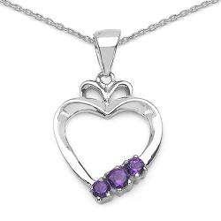 Sterling Silver Genuine Amethyst 3 stone Open Heart Necklace