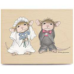 House Mouse Playing Dress Up Wood mounted Rubber Stamp