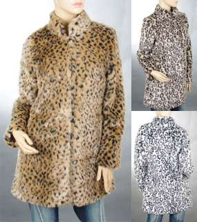 Sexy Ladies Luxury Faux Fur Leopard Party&Casual Mid Coat Outer Wear 6