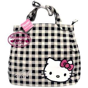 LARGE 23 Black Checker Hello Kitty Tote Canvas Bag ~BLACK