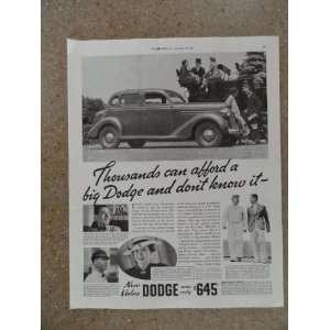 1935 Dodge $645,Vintage 30s full page print ad (car/wagon)) Original