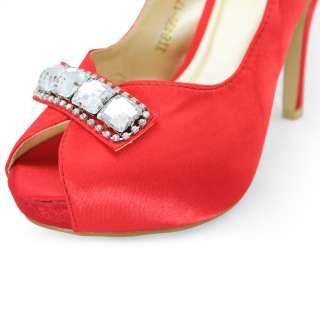 red satin rhinestones dress peep toe platform high heels shoes