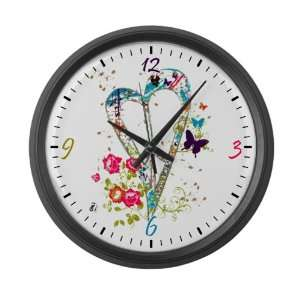 Wall Clock Flowered Butterfly Heart Peace Symbol Sign