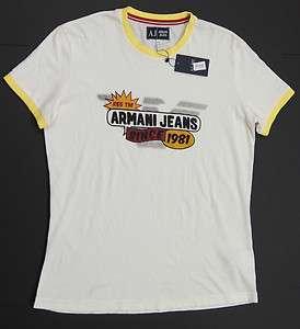 ARMANI JEANS Men Crew Neck Slim Fit T Shirts   White NEW NWT $75