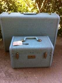 Vintage Samsonite Luggage Suitcase Traincase Train Case & Key Cosmetic