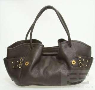 Cole Haan Dark Brown Pebbled Leather Gold Stud Handbag