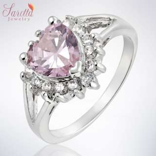 Lady Fashion Jewelry Pink Sapphire White Gold GP Cocktail Gem Ring