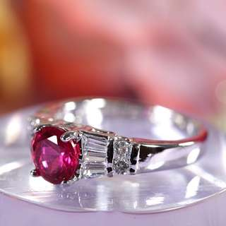 Xmas Gift Ruby Garnet White Gold GP Ring Lady Fashion Jewelry Size 7/O