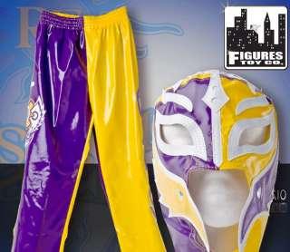 WWE Rey Mysterio Yellow & Purple Rep Kid Sz Mask & Pant