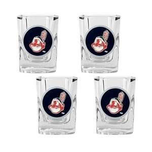 Cleveland Indians 4 Piece Square Shot Glass Set:  Sports