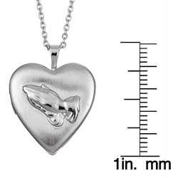 Silvertone Praying Hands 20mm Heart Locket Necklace