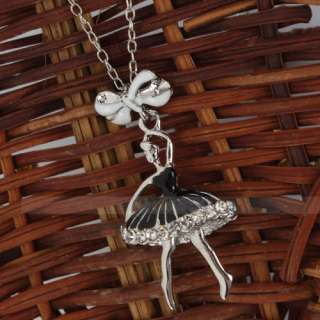 Pretty Lovely Alloy Ballet Dancing Girl Pendant Long Chain Necklaces