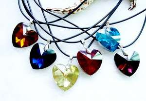 14p Heart 26MM Faceted Crystal Glass Pendant Necklaces