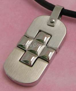 MENS CROSS STAINLESS STEEL PENDANT LEATHER NECKLACE