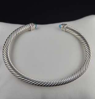 David Yurman 5mm Blue Topaz Cable Classics diamond bracelet