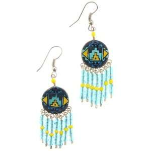 Native American Style Dangling Round Earrings in Blue and
