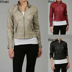 Last Kiss Womens Faux Leather Motorcycle Jacket
