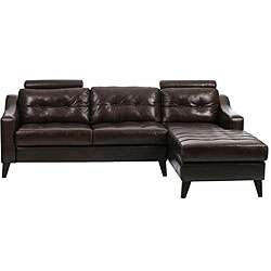 Natalie Brown Leather Tufted Sectional Sofa