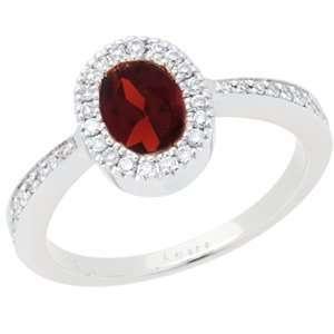 1.04 Carat 14kt White Gold Garnet and Diamond Ring