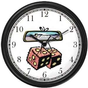 Felt Dice on Rear View Mirror Gambling or Casino Theme Wall Clock by