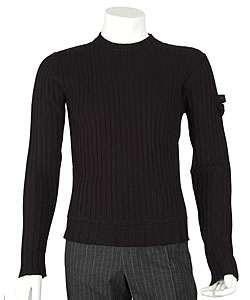 Prada Mens Black Ribbed Wool Sweater