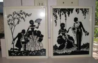 Vtg* Pr Reverse Painting on Glass Framed Silhouettes Deltex Bklyn The