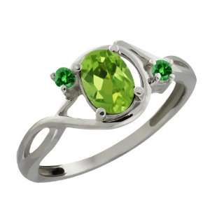 0.86 Ct Oval Green Peridot and Green Diamond Sterling