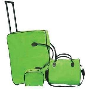 Three Piece Green Trolley Luggage Set Beauty