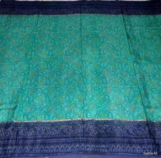 Color Nice Print Beautiful Pure Silk Indian Vintage Sari Fabric # 2020