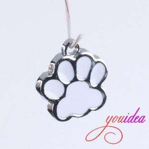 15 DOG PAW Silver Tone MEtal Charms Pendants Beads G17