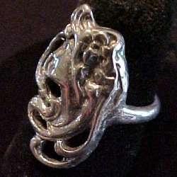 Sterling Silver Art Nouveau Style Lady Ring Lt Profile