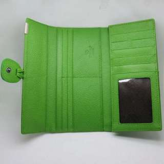 Womens Green Real Genuine Leather Bifold Clutch Wallet Purse ID Card