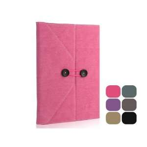 Envelope Button Clip PU leather case pouch for ipad 2 Rose