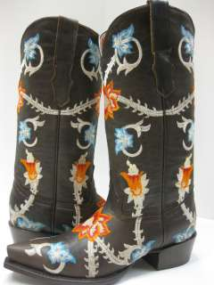 LADIES WOMENS COWBOY BOOTS SEXY SHOES NEW GRINGO EMBROIDERED FLOWERS