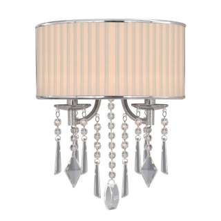 NEW 2 Light Wall Sconce Lighting Fixture, Chrome, Bridal Veil Fabric