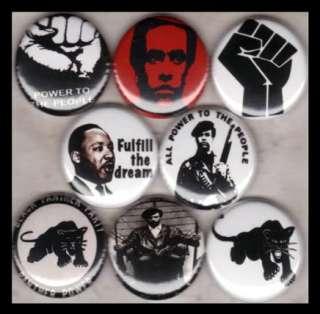 BLACK PANTHERS 1 buttons badge HUEY P NEWTON MLK POWER