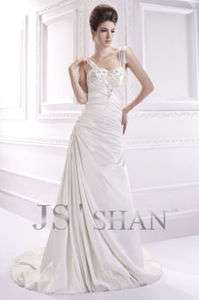 SALE Ivory Beading Empire Satin Sleeveless Bridal Gown Wedding Dress