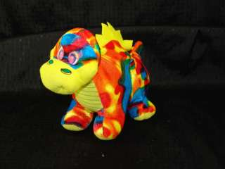 Psychedelic Tie Dye Rainbow Color Plush Dragon Dinosaur
